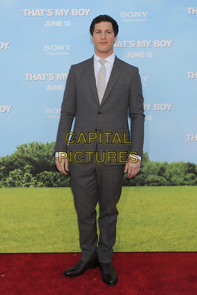"Andy Samberg.The Los Angeles premiere of ""That's My Boy"" at Regency Village Theatre in Westwood, California, USA..June 4th, 2012 .full length grey gray suit white shirt .CAP/ROT/TM.©Tony Michaels/Roth Stock/Capital Pictures"