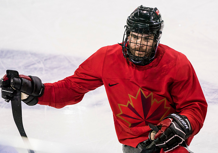 PyeongChang 8/3/2018 - Steve Arsenault (#14), of Spruce Grove, AB, as Canada's sledge hockey team practices ahead of the start of competition at the Gangneung practice venue during the 2018 Winter Paralympic Games in Pyeongchang, Korea. Photo: Dave Holland/Canadian Paralympic Committee