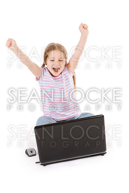 Series with a cute, litte girl, isolated on a white background.