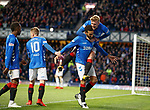 03.04.2019 Rangers v Hearts: Joe Worrall celebrates with Connor Goldson