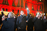 "© Joel Goodman - 07973 332324 .  03/02/2015 . Manchester , UK . People in the crowd raise their phones with the lights on , as part of the campaign , at the demonstration . Demonstration organised by the Labour Party on the steps of Manchester City Council in Albert Sqaure , Manchester , under the banner ""manVcam"" ( Manchester vs Cameron ) . Organisers say Manchester - along with Liverpool and Birmingham - have suffered larger cuts than other regional authorities , whilst southern regions such as Surrey , Hampshire and West Sussex have all seen increases in government funding . Photo credit : Joel Goodman"