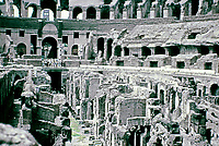 View of the Colosseum arena showing the hypogeum underground chambers.