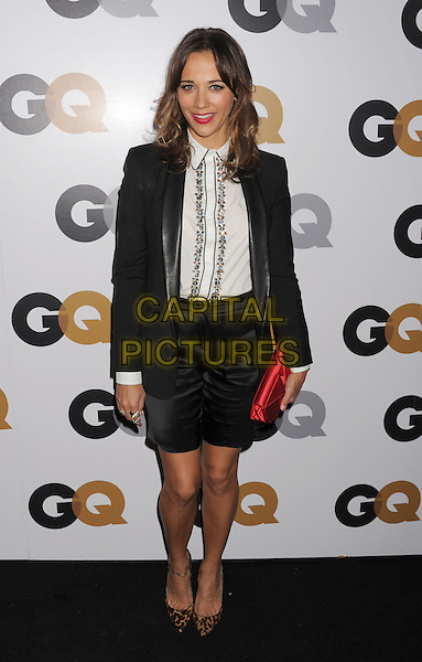 Rashida Jones.Arriving at the GQ Men Of The Year Party at Chateau Marmont Hotel in Los Angeles, California, USA..November 13th, 2012.full length blazer skirt leopard print shoes brown black white shirt embellished jewel encrusted red clutch bag .CAP/ROT/TM.©Tony Michaels/Roth Stock/Capital Pictures