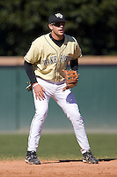 Shortstop Andy Goff (12) of the Wake Forest Demon Deacons on defense versus the Clemson Tigers during the second game of a double header at Gene Hooks Stadium in Winston-Salem, NC, Sunday, March 9, 2008.