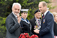 Prince William, Duke of Cambridge speaks with Robert Mile, Consul Honoraire de France before laying a wreath during a service at the National Memorial Arboretum in Alrewas, Staffordshire, during an event to commemorate the 75th anniversary of the D-Day landings. Photo Credit: ALPR/AdMedia