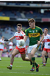 17-1-2017: Brian Friel bursts through the Derry defence in the All-Ireland Football final at Croke Park on Sunday.<br /> Photo: Don MacMonagle