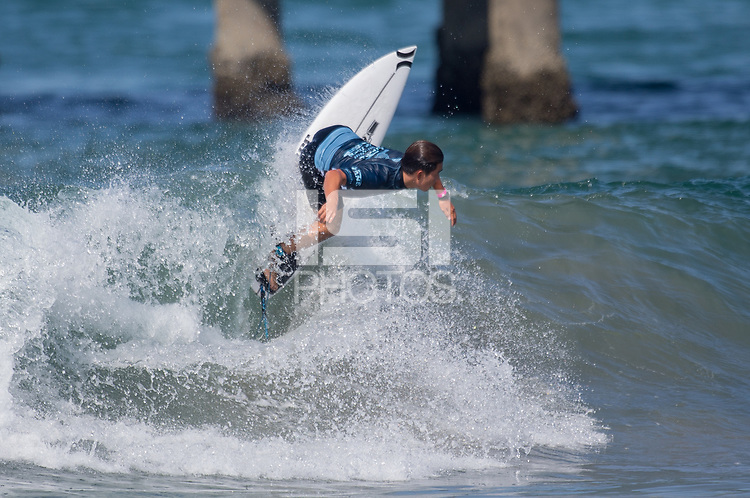 Huntington Beach, CA - Tuesday July 31, 2018: Hiroto Ohhara in action during a World Surf League (WSL) Qualifying Series (QS) Men's round of 96 heat at the 2018 Vans U.S. Open of Surfing on South side of the Huntington Beach pier.