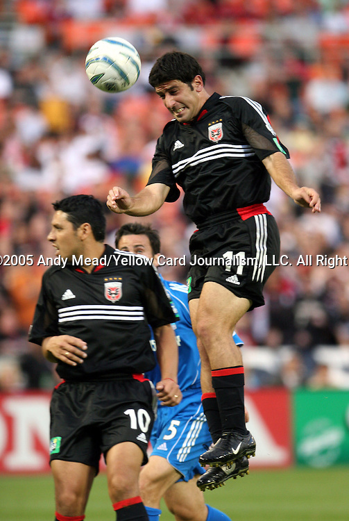 21 May 2005: Alecko Eskandarian tries to head the ball. DC United defeated the Kansas City Wizards 3-2 at RFK Stadium in Washington, DC in a regular season Major League Soccer game. . .