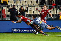 25th July 2020, Christchurch, New Zealand;  Sevu Reece of the Crusaders scores a try despite the tackle of  Chase Tiatia of the Hurricanes during the Super Rugby Aotearoa, Crusaders versus Hurricanes at Orangetheory stadium, Christchurch
