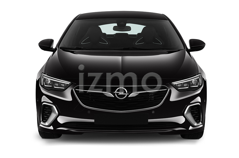 Car photography straight front view of a 2019 Opel Insignia-Grand-Sport GSI 5 Door Hatchback Front View