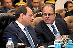 Egyptian President Abdel Fattah al-Sisi visits headquarters of the Ministry of Interior in Cairo, Egypt on March 14, 2018. Photo by Egyptian President Office