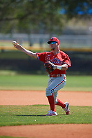 Philadelphia Phillies shortstop Hunter Stovall (23) during practice before an exhibition game against the Canada Junior National Team on March 12, 2020 at Baseball City in St. Petersburg, Florida.  (Mike Janes/Four Seam Images)