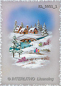 Interlitho, CHRISTMAS SANTA, SNOWMAN, nostalgic, paintings, houses, bridge(KL5051/1,#X#) Weihnachten, nostalgisch, Navidad, nostálgico, illustrations, pinturas