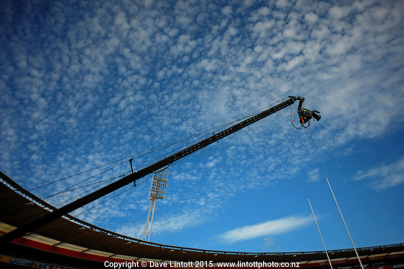 The Skysport camera boom stretches skywards on day two of the 2015 HSBC Sevens World Series Wellington Sevens at Westpac Stadium, Wellington, New Zealand on Saturday, 7 February 2015. Photo: Dave Lintott / lintottphoto.co.nz