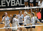 Nevada celebrates a point against Air Force during college volleyball action in Reno, Nev., on Thursday, Sept. 25, 2014. Air Force won 3-2.<br /> Photo by Cathleen Allison