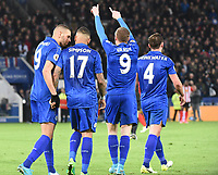 Jamie Vardy of Leicester City celebrates goal during the Premier League match between Leicester City v Sunderland played at King Power Stadium, Leicester on 4th April 2017.<br /> <br /> <br /> available via IPS Photo Agency/Rex Features  only