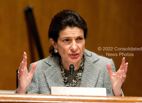 United States Senator Olympia Snowe (Republican of Maine), a member of the U.S. Senate Finance Committee, questions U.S. Secretary of Health and Human Services (HHS) Kathleen Sebelius during a hearing on the agency's FY 2013 budget proposal on Capitol Hill in Washington, D.C. on Wednesday, February 15, 2012..Credit: Ron Sachs / CNP