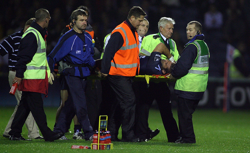 Photo: Paul Thomas..Sale Sharks v Newcastle Falcons. EDF Anglo-Welsh Cup. 29/09/2006...Lionel Faure of Sale is taken off on a stretcher.