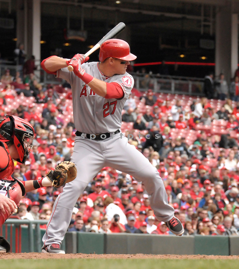 Los Angeles Angels Mike Trout (27) in action during a game against the Cincinnati Reds on April 4, 2013 at Great American Ballpark in Cincinnati, OH. The Reds beat the Angels 5-4.