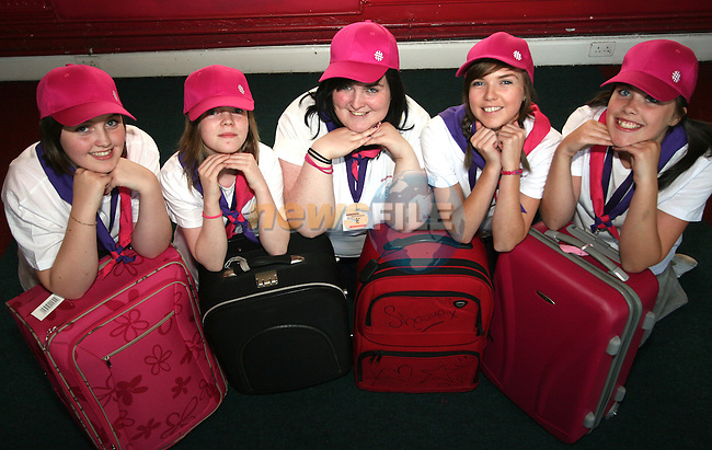 Girl Guides, Katie McDonnell, Mellissa Somerville, Shauna Heeney, Louise McArdle and Ciara Levins get ready for their trip to Paris...Photo NEWSFILE/Jenny Matthews.(Photo credit should read Jenny Matthews/NEWSFILE)....This Picture has been sent you under the condtions enclosed by:.Newsfile Ltd..The Studio,.Millmount Abbey,.Drogheda,.Co Meath..Ireland..Tel: +353(0)41-9871240.Fax: +353(0)41-9871260.GSM: +353(0)86-2500958.email: pictures@newsfile.ie.www.newsfile.ie.FTP: 193.120.102.198.