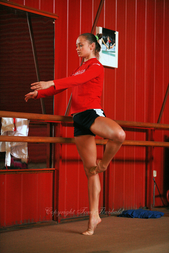 Marina Shpekt of Russia trains ballet before Burgas Grand Prix Rhythmic Gymnastics on May 5, 2006.  (Photo by Tom Theobald)