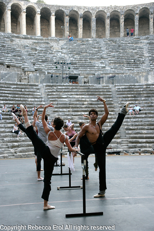Carlos Acosta and other dancers of Royal Ballet Covent Garden in class at the Aspendos Theatre, Antalya, Turkey