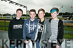 l-r  Liev Daly, Odhran Mullins Moynihan, Louis Murchan and Grahame Kennelly  at the   Friends of University Hospital Kerry fundraising Night at the Dogs at the Kingdom Greyhound Stadium on Friday