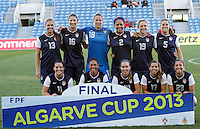 USA team starting XI during their Algarve Women's Cup soccer match at Algarve stadium in Faro, March 13, 2013.  .