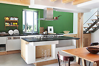 The green and white kitchen, with durable concrete flooring and a neutrally finished woodwork