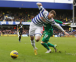 QPR v Norwich.Mark Bunn challenges Jamie Mackie unfairly and gives away a Penalty.....Pic by warren allott/Pixel 8000 Ltd