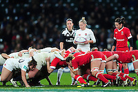 La Toya Mason of England looks to put the ball into a scrum. Old Mutual Wealth Series International match between England Women and Canada Women on November 26, 2016 at Twickenham Stadium in London, England. Photo by: Patrick Khachfe / Onside Images
