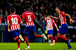 Thomas Teye Partey of Atletico de Madrid celebrates scoring the team's first goal with teammate Rodrigo Cascante during the La Liga 2018-19 match between Atletico de Madrid and Athletic de Bilbao at Wanda Metropolitano, on November 10 2018 in Madrid, Spain. Photo by Diego Gouto / Power Sport Images