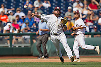 Mississippi State third baseman Alex Detz (3) makes a running throw to first base during Game 11 of the 2013 Men's College World Series against the Oregon State Beavers on June 21, 2013 at TD Ameritrade Park in Omaha, Nebraska. The Bulldogs defeated the Beavers 4-1, to reach the CWS Final and eliminating Oregon State from the tournament. (Andrew Woolley/Four Seam Images)