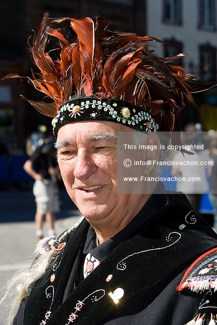 Stock photo of Max Gros-louis, Grand Chief of the Huron-Wendat nation native reserve, an enclave within Quebec City, Canada