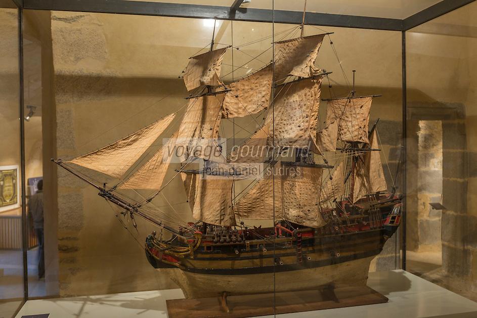 France, Bretagne, (29), Finistère, Brest:  Musée National de la Marine - Château de Brest: Le Kerneellia Maria , Modèle votif 1762