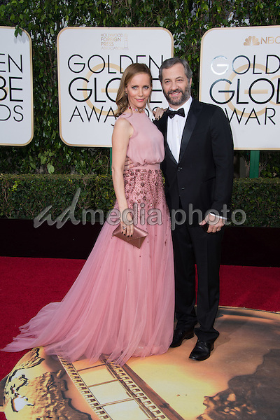 "Leslie Mann and Judd Apatow, director of the Golden Globe nominated ""Trainwreck"" in the category of BEST MOTION PICTURE – COMEDY OR MUSICAL, arrive at the 73rd Annual Golden Globe Awards at the Beverly Hilton in Beverly Hills, CA on Sunday, January 10, 2016. Photo Credit: HFPA/AdMedia"