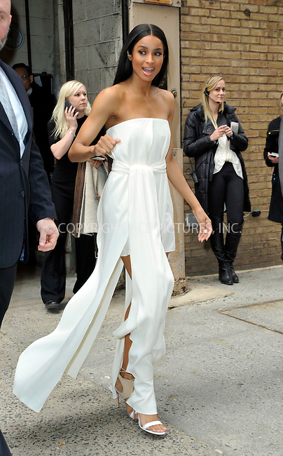 WWW.ACEPIXS.COM<br /> <br /> March 31 2015, New York City<br /> <br /> Singer Ciara leaving 'Live with Kelly and Michael' on March 31 2015 in New York City.<br /> <br /> <br /> Please byline: Curtis Means/ACE Pictures<br /> <br /> ACE Pictures, Inc.<br /> www.acepixs.com, Email: info@acepixs.com<br /> Tel: 646 769 0430