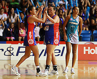 20.03.2010 Mystics Maria Tutaia and Catherine Latu celebrate after the ANZ Champs Netball match between the Mystics and Thunderbirds at Trusts Stadium in Auckland. Mandatory Photo Credit ©Michael Bradley