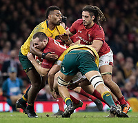 Wales' Ken Owens is tackled by Australia's Adam Coleman<br /> <br /> Photographer Simon King/CameraSport<br /> <br /> International Rugby Union - 2017 Under Armour Series Autumn Internationals - Wales v Australia - Saturday 11th November 2017 - Principality Stadium - Cardiff<br /> <br /> World Copyright &copy; 2017 CameraSport. All rights reserved. 43 Linden Ave. Countesthorpe. Leicester. England. LE8 5PG - Tel: +44 (0) 116 277 4147 - admin@camerasport.com - www.camerasport.com