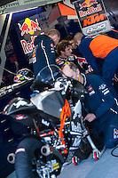 Jack Miller in his box at pre season winter test IRTA Moto3 & Moto2 at Ricardo Tormo circuit in Valencia (Spain), 11-12-13 February 2014