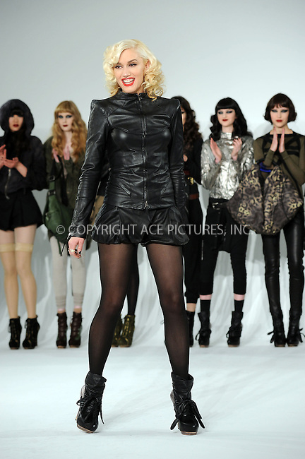WWW.ACEPIXS.COM . . . . . ....February 11 2010, New York City....Singer and designer Gwen Stefani on stage during the L.AM.B. Fall 2010 fashion show during Mercedes-Benz Fashion Week on February 11, 2010 in New York City....Please byline: KRISTIN CALLAHAN - ACEPIXS.COM.. . . . . . ..Ace Pictures, Inc:  ..tel: (212) 243 8787 or (646) 769 0430..e-mail: info@acepixs.com..web: http://www.acepixs.com