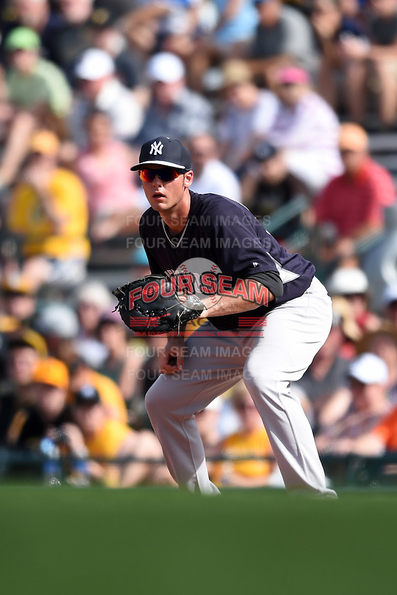 New York Yankees first baseman Greg Bird (95) during a Spring Training game against the Pittsburgh Pirates on March 5, 2015 at McKechnie Field in Bradenton, Florida.  New York defeated Pittsburgh 2-1.  (Mike Janes/Four Seam Images)