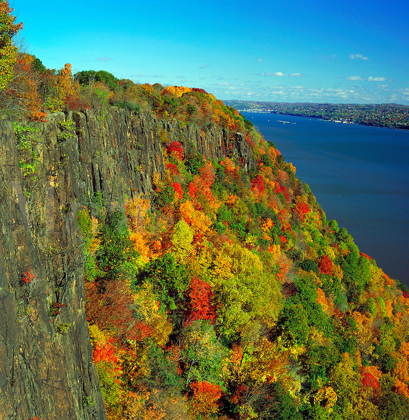 Overhead view of Englewood Cliffs along the Hudson Riverin autumn. New Jersey.