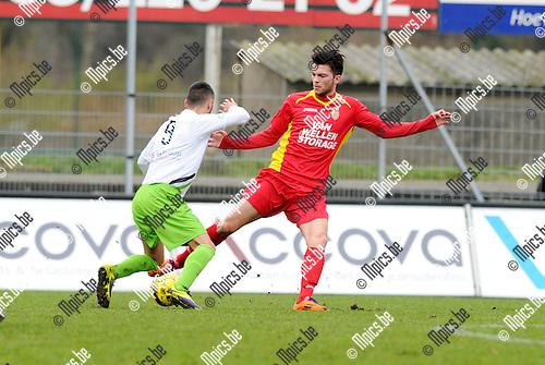 2015-01-25 / Voetbal / seizoen 2014-2015 / Kapellen - Verviers / Onder met Robbe Kil (r. Kapellen)<br /><br />Foto: Mpics.be
