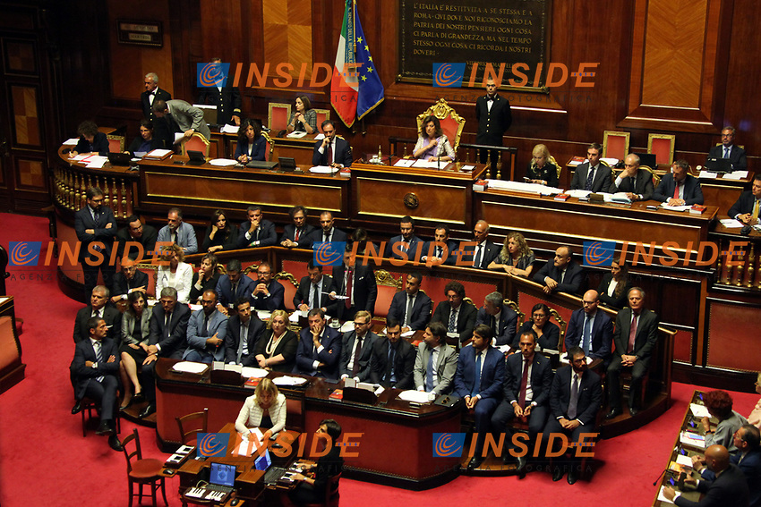 Matteo Salvini, Giuseppe Conte, Luigi Di Maio and all the ministers and undersecretaries<br /> Rome August 20th 2019. Senate. Speech of the Prime Minister about the crisis of Government. Just after the speech the Premier went to the President of the Republic to resign<br /> Foto  Insidefoto