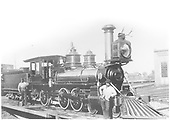 Engine #163 on turntable.<br /> D&amp;RG  Canon City, CO