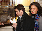 """Staten Island Chuck,  Andy Karl and Barrett Doss visit the """"Groundhog Day'' opening day box office at The August Wilson Theatre on February 2, 2017 in New York City."""