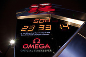 Unveiling ceremony of Omega Olympic countdown clock. Countdown to start of Olympic Games 2012.