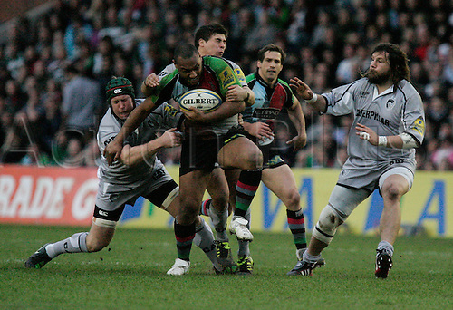 02.04.2011 Aviva Premiership Rugby Union from The Twickenham Stoop. Harlequins V Leicester Tigers. Picture shows Jordan Turner-Hall trying to brush off a Leicester Tigers tackle.