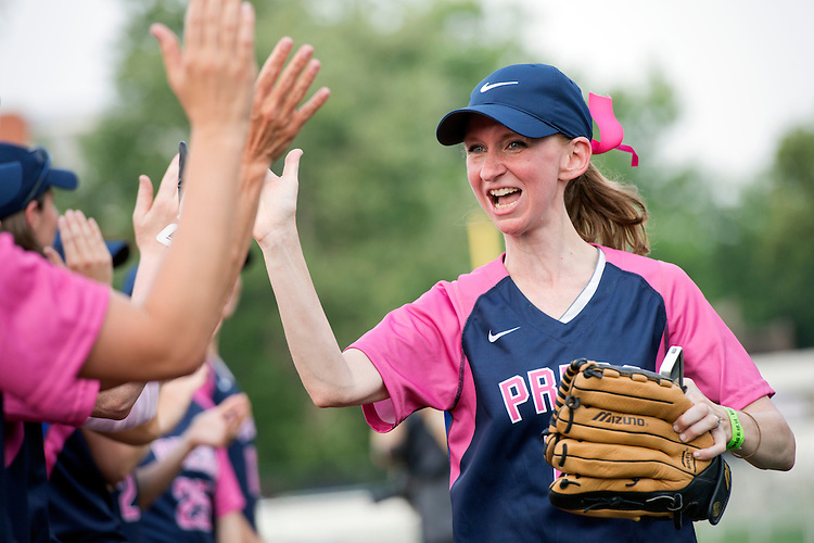 UNITED STATES - JUNE 18: Lisa Desjardins of CNN is announced before the Congressional Women's Softball game that pits Congresswomen against female journalists at Watkins Recreation Center on Capitol Hill, June 18, 2014. Team Congress prevailed in a 10-5 victory. The game benefits the Young Survival Coalition that helps young women with breast cancer. (Photo By Tom Williams/CQ Roll Call)